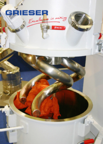 GRIESER Planetary Mixer for kneating with tempered coil mixing tools